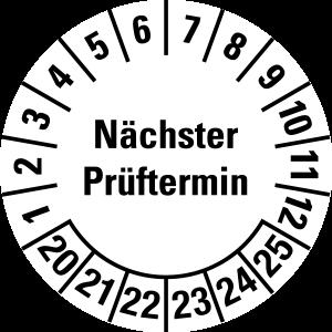 Multi-year test sticker 2020 - 2025 | Next test date - foil self-adhesive, white & black - Ø 10 mm - 50 pieces