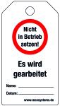 Verriegelungsetikett - Nicht in  ...  Kunststoff 0,5 mm - 80 x 147 mm