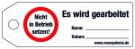 Locking label - Do not put into  ... ! - Plastic 0.5 mm - 160 x 55 mm