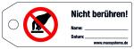 Latch Label - Do not touch! - Plastics 0.5 mm - 160 x 55 mm