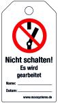 Locking label - Do not switch! - Plastic 0.5 mm - 80 x 147 mm