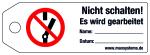 Locking side chain - Do not shift! - Plastic 0.5 mm - 160 x 55 mm