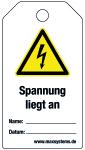 Verriegelungsetikett - Spannung  ...  Kunststoff 0,5 mm - 80 x 147 mm