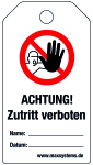 Locking label - ATTENTION! Acces ... ! - Plastic 0.5 mm - 80 x 147 mm