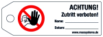 Locking label - ATTENTION! Acces ... ! - Plastic 0.5 mm - 160 x 55 mm