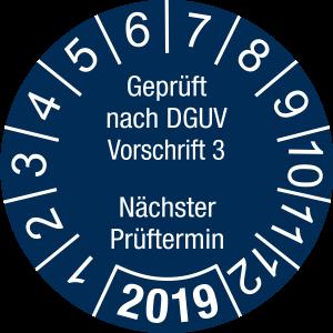 Jahresprüfplakette 2019| Geprüft nach DGUV / Nächster Prüftermin | DP619 | Folie selbstklebend | M44 | sicherheitsblau & weiß | 10 mm | 50 Stück