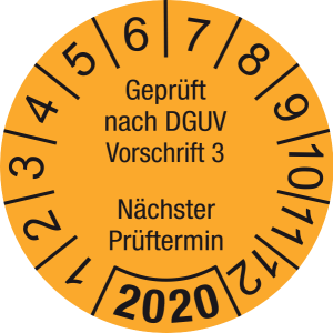 Jahresprüfplakette 2020   Geprüft nach DGUV / Nächster Prüftermin   DP620   Foil selbstklebend   M30   orange & schwarz   10 mm   50 Stück