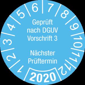 Jahresprüfplakette 2020   Geprüft nach DGUV / Nächster Prüftermin   DP620   Foil selbstklebend   M22   himmelblau & weiß   15 mm   50 Stück