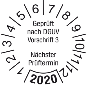 Jahresprüfplakette 2020   Geprüft nach DGUV / Nächster Prüftermin   DP620   Foil selbstklebend   M10   weiß & schwarz   20 mm   50 Stück