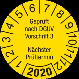 Jahresprüfplakette 2020   Geprüft nach DGUV / Nächster Prüftermin   DP620   Foil selbstklebend   M13   gelb & schwarz   20 mm   50 Stück