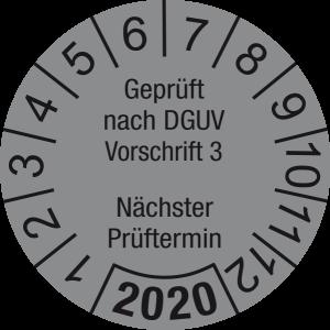 Jahresprüfplakette 2020 | Geprüft nach DGUV / Nächster Prüftermin | DP620 | Foil selbstklebend | M34 | silber & schwarz | 20 mm | 50 Stück