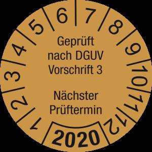 Jahresprüfplakette 2020 | Geprüft nach DGUV / Nächster Prüftermin | DP620 | Foil selbstklebend | M35 | gold & schwarz | 20 mm | 50 Stück