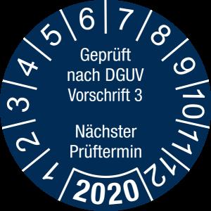 Jahresprüfplakette 2020 | Geprüft nach DGUV / Nächster Prüftermin | DP620 | Foil selbstklebend | M44 | sicherheitsblau & weiß | 20 mm | 50 Stück