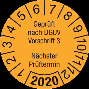 Jahresprüfplakette 2020 | Geprüft nach DGUV / Nächster Prüftermin | DP620 | Foil selbstklebend | M30 | orange & schwarz | 30 mm | 50 Stück