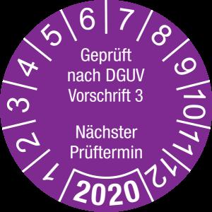 Jahresprüfplakette 2020 | Geprüft nach DGUV / Nächster Prüftermin | DP620 | Foil selbstklebend | M38 | violett & weiß | 30 mm | 50 Stück