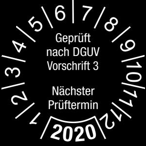 Jahresprüfplakette 2020   Geprüft nach DGUV / Nächster Prüftermin   DP620   Foil selbstklebend   M21   schwarz & weiß   40 mm   50 Stück