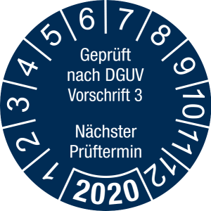 Jahresprüfplakette 2020   Geprüft nach DGUV / Nächster Prüftermin   DP620   Foil selbstklebend   M44   sicherheitsblau & weiß   40 mm   50 Stück