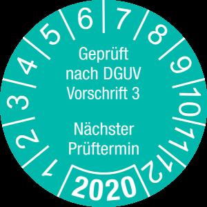 Jahresprüfplakette 2020   Geprüft nach DGUV / Nächster Prüftermin   DP620   Foil selbstklebend   M46   türkis & weiß   40 mm   50 Stück