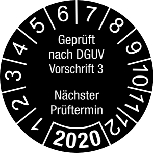 Jahresprüfplakette 2020   Geprüft nach DGUV / Nächster Prüftermin   DP620   Document foil M21   schwarz & weiß   20 mm   50 Stück