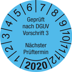 Jahresprüfplakette 2020 | Geprüft nach DGUV / Nächster Prüftermin | DP620 | Document foil M14 | hellblau & schwarz | 25 mm | 50 Stück