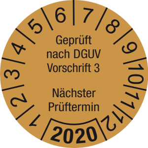Jahresprüfplakette 2020 | Geprüft nach DGUV / Nächster Prüftermin | DP620 | Document foil M35 | gold & schwarz | 30 mm | 50 Stück