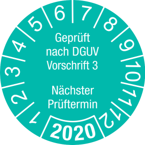 Jahresprüfplakette 2020 | Geprüft nach DGUV / Nächster Prüftermin | DP620 | Document foil M46 | türkis & weiß | 40 mm | 50 Stück
