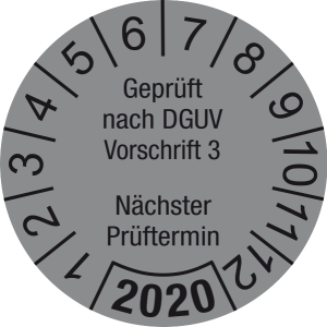 Jahresprüfplakette 2020 | Geprüft nach DGUV / Nächster Prüftermin | DP620 | Foil selbstklebend | M34 | silber & schwarz | 20 mm | 500 Stück
