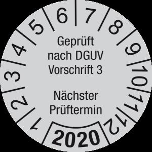 Jahresprüfplakette 2020 | Geprüft nach DGUV / Nächster Prüftermin | DP620 | Foil selbstklebend | M43 | verkehrsgrau & schwarz | 20 mm | 500 Stück