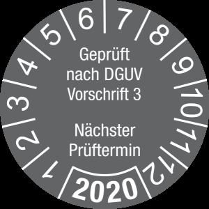 Jahresprüfplakette 2020   Geprüft nach DGUV / Nächster Prüftermin   DP620   Foil selbstklebend   M63   dunkelgrau & weiß   20 mm   500 Stück