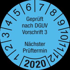 Jahresprüfplakette 2020 | Geprüft nach DGUV / Nächster Prüftermin | DP620 | Foil selbstklebend | M14 | hellblau & schwarz | 25 mm | 500 Stück