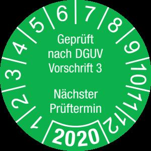 Jahresprüfplakette 2020 | Geprüft nach DGUV / Nächster Prüftermin | DP620 | Foil selbstklebend | M28 | hellgrün & weiß | 25 mm | 500 Stück