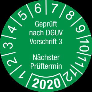 Jahresprüfplakette 2020 | Geprüft nach DGUV / Nächster Prüftermin| DP620 | Dokumentenfolie | M24 | sicherheitsgrün & weiß | 10 mm | 500 Stück