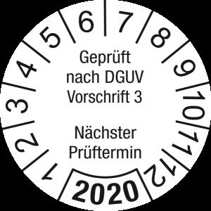 Jahresprüfplakette 2020   Geprüft nach DGUV / Nächster Prüftermin  DP620   Dokumentenfolie   M10   weiß & schwarz   20 mm   500 Stück