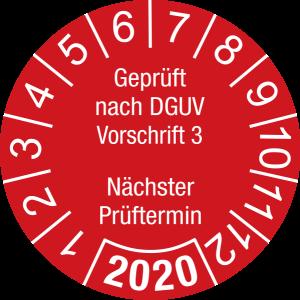 Jahresprüfplakette 2020   Geprüft nach DGUV / Nächster Prüftermin  DP620   Dokumentenfolie   M32   rot & weiß   30 mm   500 Stück