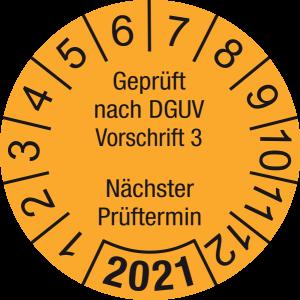 Jahresprüfplakette 2021   Geprüft nach DGUV / Nächster Prüftermin   DP621   Folie selbstklebend   M30   orange & schwarz   15 mm   50 Stück