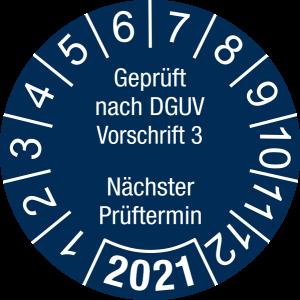 Jahresprüfplakette 2021 | Geprüft nach DGUV / Nächster Prüftermin | DP621 | Folie selbstklebend | M44 | sicherheitsblau & weiß | 15 mm | 50 Stück