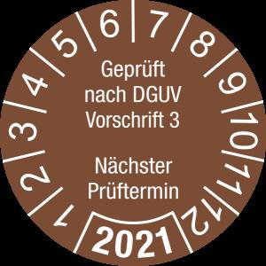 Jahresprüfplakette 2021 | Geprüft nach DGUV / Nächster Prüftermin | DP621 | Folie selbstklebend | M78 | signalbraun & weiß | 20 mm | 50 Stück