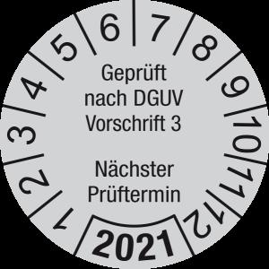 Jahresprüfplakette 2021 | Geprüft nach DGUV / Nächster Prüftermin | DP621 | Folie selbstklebend | M43 | verkehrsgrau & schwarz | 20 mm | 50 Stück