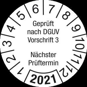Jahresprüfplakette 2021 | Geprüft nach DGUV / Nächster Prüftermin | DP621 | Folie selbstklebend | M10 | weiß & schwarz | 25 mm | 50 Stück
