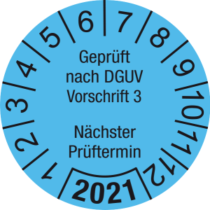 Jahresprüfplakette 2021   Geprüft nach DGUV / Nächster Prüftermin   DP621   Folie selbstklebend   M14   hellblau & schwarz   25 mm   50 Stück