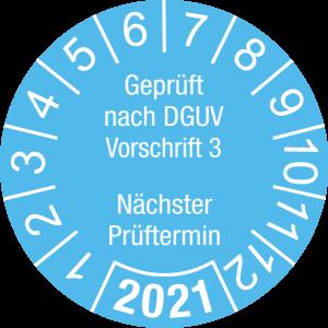 Jahresprüfplakette 2021 | Geprüft nach DGUV / Nächster Prüftermin | DP621 | Folie selbstklebend | M22 | himmelblau & weiß | 25 mm | 50 Stück