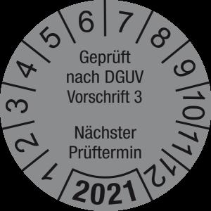 Jahresprüfplakette 2021   Geprüft nach DGUV / Nächster Prüftermin   DP621   Folie selbstklebend   M34   silber & schwarz   30 mm   50 Stück