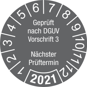 Jahresprüfplakette 2021   Geprüft nach DGUV / Nächster Prüftermin   DP621   Folie selbstklebend   M63   dunkelgrau & weiß   30 mm   50 Stück