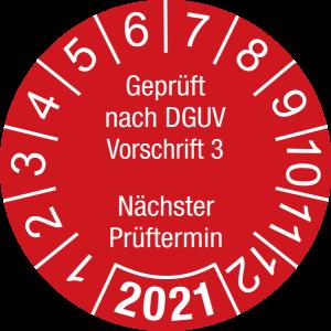 Jahresprüfplakette 2021 | Geprüft nach DGUV / Nächster Prüftermin | DP621 | Folie selbstklebend | M32 | rot & weiß | 40 mm | 50 Stück