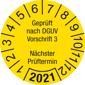 Jahresprüfplakette 2021 | Geprüft nach DGUV / Nächster Prüftermin | DP621 | Dokumentenfolie | M13 | gelb & schwarz | 10 mm | 50 Stück