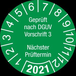 Jahresprüfplakette 2021 | Geprüft nach DGUV / Nächster Prüftermin | DP621 | Dokumentenfolie | M24 | sicherheitsgrün & weiß | 10 mm | 50 Stück
