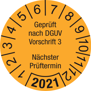 Jahresprüfplakette 2021   Geprüft nach DGUV / Nächster Prüftermin   DP621   Dokumentenfolie   M30   orange & schwarz   10 mm   50 Stück