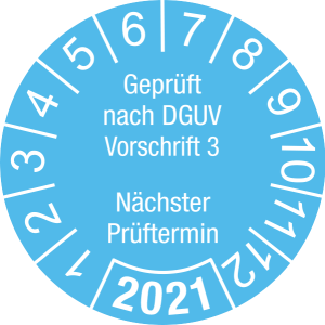 Jahresprüfplakette 2021 | Geprüft nach DGUV / Nächster Prüftermin | DP621 | Dokumentenfolie | M22 | himmelblau & weiß | 15 mm | 50 Stück