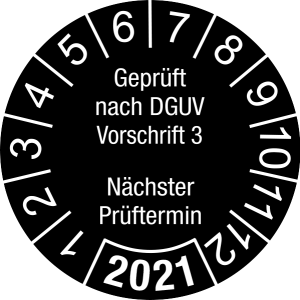 Jahresprüfplakette 2021 | Geprüft nach DGUV / Nächster Prüftermin | DP621 | Dokumentenfolie | M21 | schwarz & weiß | 30 mm | 50 Stück