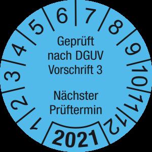 Jahresprüfplakette 2021   Geprüft nach DGUV / Nächster Prüftermin   DP621   Dokumentenfolie   M14   hellblau & schwarz   40 mm   50 Stück
